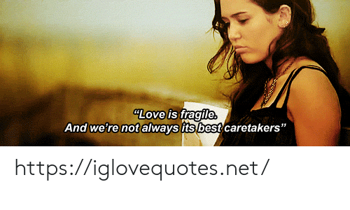 "Love, Best, and Net: LOve is fragile  And we're not always its best caretakers"" https://iglovequotes.net/"