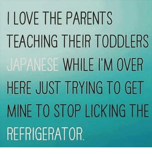 Overation: LOVE THE PARENTS  TEACHING THEIR TODDLERS  WHILE I'M OVER  HERE JUST TRYING TO GET  MINE TO STOP LICKING THE  REFRIGERATOR