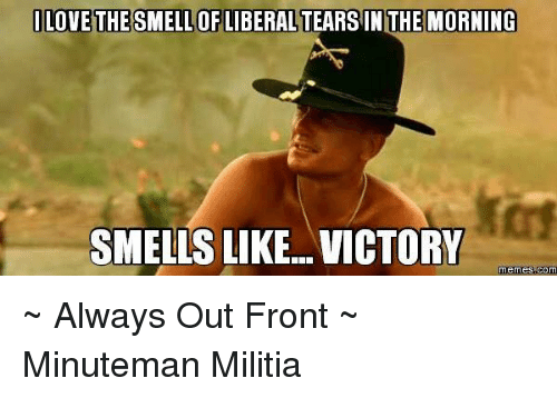 Smells Like Victory: LOVE THE SMELLOFLIBERALTEARSIN THE MORNING  SMELLS LIKE VICTORY  Memes COM ~ Always Out Front ~ Minuteman Militia