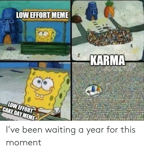 Karma: LOW EFFORT MEME  KARMA  LOW EFFORT  CAKE DAY MEME I've been waiting a year for this moment