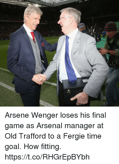 Arsenal, Soccer, and Fergie: LOWERSF MANCESTER FC THE RELIGION Arsene Wenger loses his final game as Arsenal manager at Old Trafford to a Fergie time goal. How fitting. https://t.co/RHGrEpBYbh