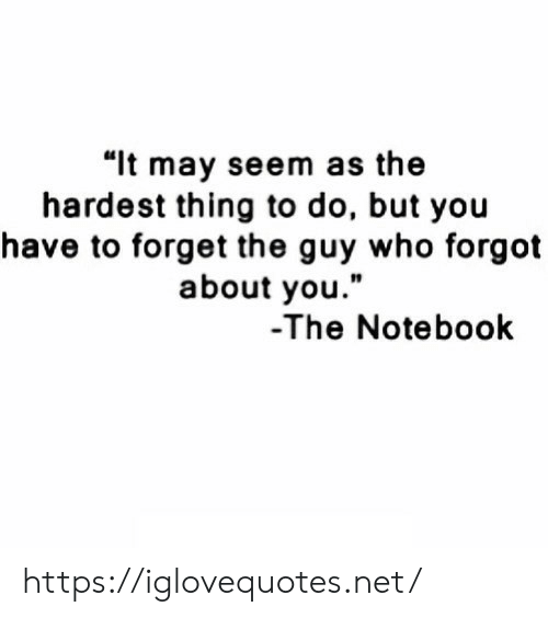 """The Notebook: """"lt may seem as the  hardest thing to do, but you  have to forget the guy who forgot  about you.""""  10  -The Notebook https://iglovequotes.net/"""