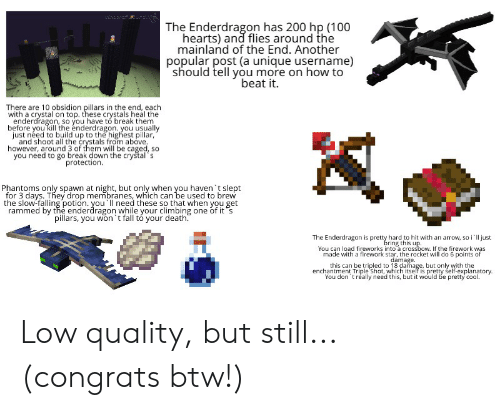 Climbing, Fall, and Arrow: LT72200  The Enderdragon has 200 hp (100  hearts) and flies around the  mainland of the End. Another  popular post (a unique username)  should tell you more on how to  beat it.  There are 10 obsidion pillars in the end, each  with a crystal on top. these crystals heal the  enderdragon, so you have to break them  before you kill the enderdragon. you usually  just need to build up to the highest pillar,  and shoot all the crystals from above  however, around 3 of them will be caged, so  you need to go break down the crystal s  protection.  Phantoms only spawn at night, but only when you haven 't slept  for 3 days. They drop membranes, which can be used to brew  the slow-falling potion. you ll need these so that when you get  rammed by the enderdragon while your climbing one of it s  pillars, you won't fall tó your death.  The Enderdragon is pretty hard to hit with an arrow, so i'll just  bring this up.  You can load fireworks into a crossbow. If the firework was  made with a firework star, the rocket will do 6 points of  damage  this can be tripled to 18 damage, but only with the  enchantment Triple Shot, which itself is pretty self-explanatory.  You don 't réally need this, but it would be pretty cool Low quality, but still... (congrats btw!)