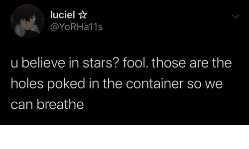 Holes, Stars, and Can: luciel  @YoRHa11s  u believe in stars? fool. those are the  holes poked in the container so we  can breathe