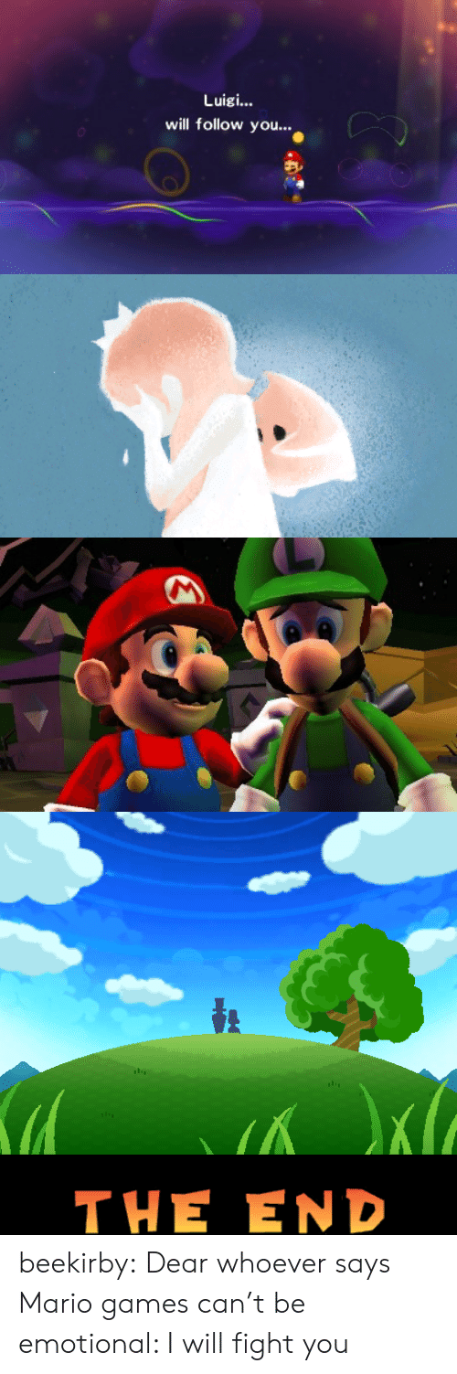 Tumblr, Mario, and Blog: Luigi...  will follow you..   Кa  THE END beekirby:  Dear whoever says Mario games can't be emotional: I will fight you