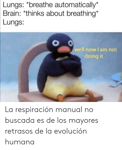automatically: Lungs: *breathe automatically*  Brain: *thinks about breathing*  Lungs:  well now I am not  doing La respiración manual no buscada es de los mayores retrasos de la evolución humana