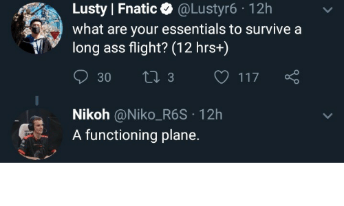Ass, Flight, and Essentials: Lusty Fnatic @Lustyr6-12h  what are your essentials to survive a  long ass flight? (12 hrs+)  Nikoh @Niko_R6S 12h  A functioning plane.