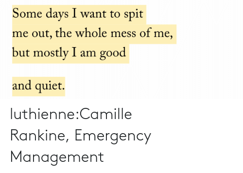 emergency: luthienne:Camille Rankine, Emergency Management