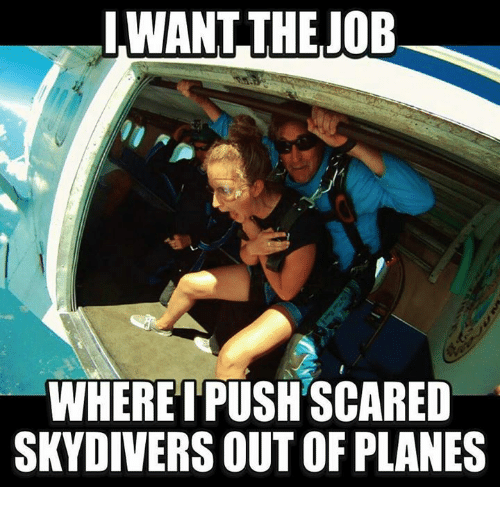 skydive: LWANT THE JOB  WHERE I PUSH SCARED  SKYDIVERS OUTOR PLANES