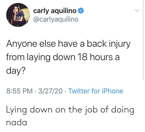 Lying: Lying down on the job of doing nada
