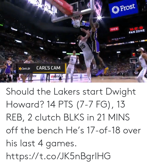 Los Angeles Lakers: m  Frost  FAN ZONE  2S  Carts  CARL'S CAM Should the Lakers start Dwight Howard?   14 PTS (7-7 FG), 13 REB, 2 clutch BLKS in 21 MINS off the bench   He's 17-of-18 over his last 4 games.    https://t.co/JK5nBgrlHG