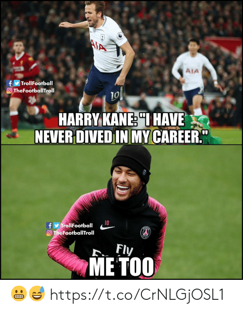 "Memes, My Career, and Never: MA  AIA  TrollFootball  O TheFootballTroll  10  HARRY KANE ""IHAVE  NEVER DIVED IN MY CAREER""  10  fy TrollFootball  O TheFootballTroll  ART  Fly  МЕ ТОО 😬😅 https://t.co/CrNLGjOSL1"