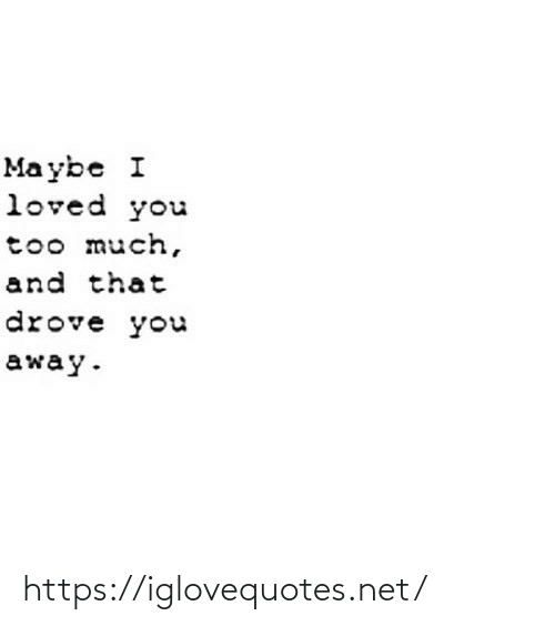 Too Much: Ma ybe I  loved you  too much,  and that  drove you  away. https://iglovequotes.net/