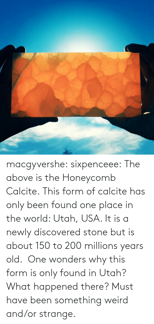 in the world: macgyvershe: sixpenceee: The above is the Honeycomb Calcite. This form of calcite has only been found one place in the world: Utah, USA. It is a newly discovered stone but is about 150 to 200 millions years old.  One wonders why this form is only found in Utah? What happened there? Must have been something weird and/or strange.