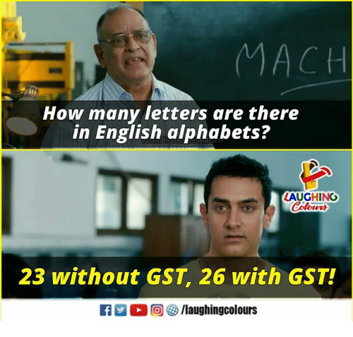 alphabets: MACH  How many letters are there  in English alphabets?  LAUGHING  23 without GST, 26 with GST!  f/laughingcolours