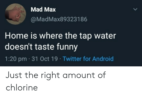 Home Is: Mad Max  @MadMax893231 86  Home is where the tap water  doesn't taste funny  1:20 pm 31 Oct 19 Twitter for Android Just the right amount of chlorine