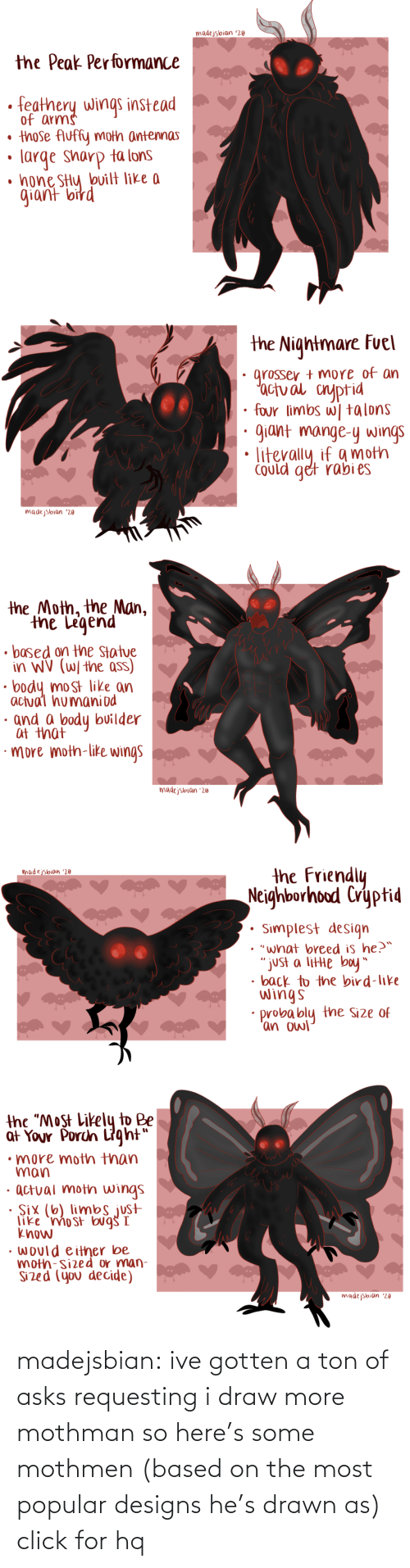 "arms: madejsbian '20  the Peak Performance  feathery wings instead  of arms  • those Auffy moth antennas  large sharp ta lons  • hone SHy bvilt like a  giant bird   the Nightmare Fuel  grosser + more of an  'actual cnyptid  four limbs w| talons  giant mange-y wings  Could get rabi es  madejsbian '20   the Moth, the Man,  the Legend  • based on the Statue  in WV (W/ the ass)  body most like an  actual humaniod  · and a body builder  at that  ·more moth-like wings  madejsbian '20   the Friendly  Neighborhood Cryptid  madejsbian '20  Simplest design  • ""what breed is he?™  ""just a litte boy""  • back to the bird-like  wings  probably the Size of  'an owl   the ""Most Likely to Be  at Your Porch Light""  •more moth than  man  · actual moth wings  · Six (6) limbs just  like 'mo st bug I  know  • would either be  moth-sized or man-  Sized (you decide)  madejsbian '20 madejsbian: ive gotten a ton of asks requesting i draw more mothman so here's some mothmen (based on the most popular designs he's drawn as)