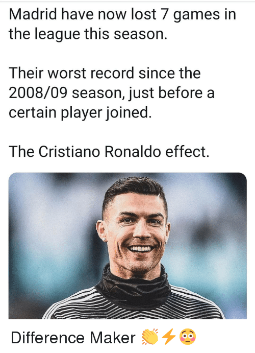 Cristiano Ronaldo, Memes, and Lost: Madrid have now lost 7 games in  the league this season.  Their worst record since the  2008/09 season, just before a  certain player joined.  The Cristiano Ronaldo effect. Difference Maker 👏⚡😳