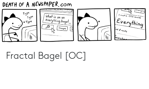 Result: /mages  DEATH OF A NEWS PAPER.com  1 result in O.02 seconds  Everything  Туре  Туре  . Туре  What is on an  everything bagel  End of resulte  Images  earchee Fractal Bagel [OC]