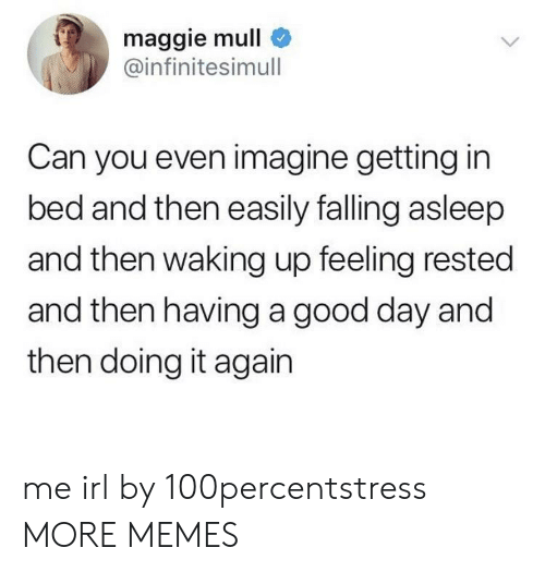 Dank, Memes, and Target: maggie mull  @infinitesimull  Can you even imagine getting in  bed and then easily falling asleep  and then waking up feeling rested  and then having a good day and  then doing it again me irl by 100percentstress MORE MEMES