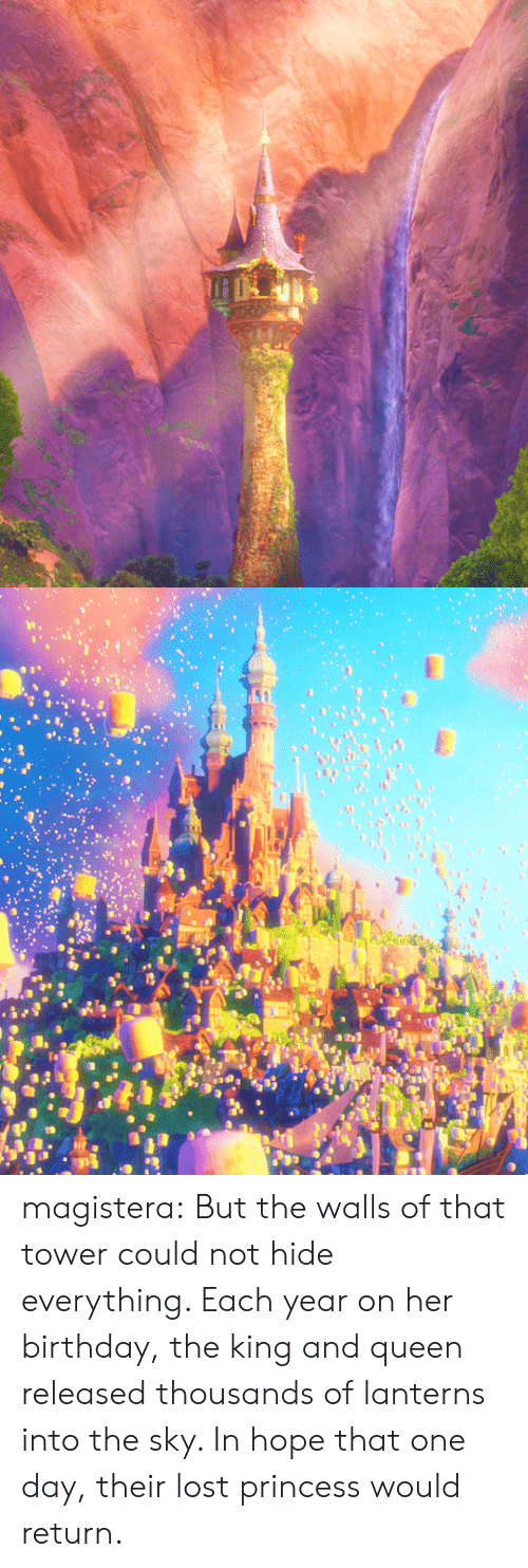 Lanterns: magistera:   But the walls of that tower could not hide everything. Each year on her birthday, the king and queen released thousands of lanterns into the sky. In hope that one day, their lost princess would return.