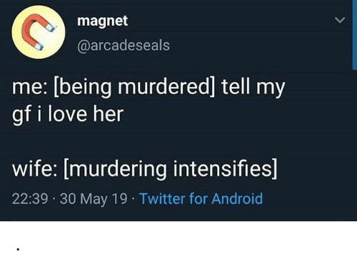 Android, Love, and Twitter: magnet  @arcadeseals  me: [being murdered] tell my  gf i love her  wife: [murdering intensifies]  22:39 30 May 19 Twitter for Android .