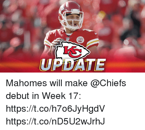 Memes, Chiefs, and 🤖: Mahomes will make @Chiefs debut in Week 17: https://t.co/h7o6JyHgdV https://t.co/nD5U2wJrhJ