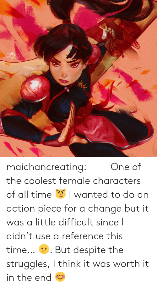 Target, Tumblr, and Blog: maichancreating:  「珊瑚」 One of the coolest female characters of all time 😼 I wanted to do an action piece for a change but it was a little difficult since I didn't use a reference this time… 😕. But despite the struggles, I think it was worth it in the end 😊