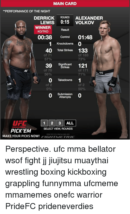 Boxing, Memes, and Ufc: MAIN CARD  **PERFORMANCE OF THE NIGHT  DERRICK ROUND3 ALEXANDER  LEWIS 0:15 VOLKOV  WINNER  KO/TKO  Result  00:38 Control 01:48  Knockdowns  40 Total Strikes 133  of 71  57%  of 183  73%  Significant  trikes  of 70  56%  of 171  71%  DF  Takedowns  Jun  of 2  0%  of 2  50%  0  Submission  Attempts  0  UFC 1 2 3 ALL  PICK'EM  SELECT VIEW, ROUNDS  STATISTICS PROVIOED BY  MAKE YOUR PICKS NOW! / IGH / MI  / R。 Perspective. ufc mma bellator wsof fight jj jiujitsu muaythai wrestling boxing kickboxing grappling funnymma ufcmeme mmamemes onefc warrior PrideFC prideneverdies