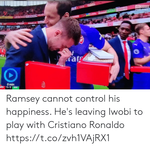 cristiano: main  rat  0 min Ramsey cannot control his happiness. He's leaving Iwobi to play with Cristiano Ronaldo https://t.co/zvh1VAjRX1