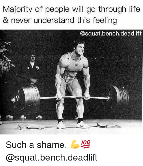 Squat: Majority of people will go through life  & never understand this feeling  @squat.bench.deadlift Such a shame. 💪💯 @squat.bench.deadlift