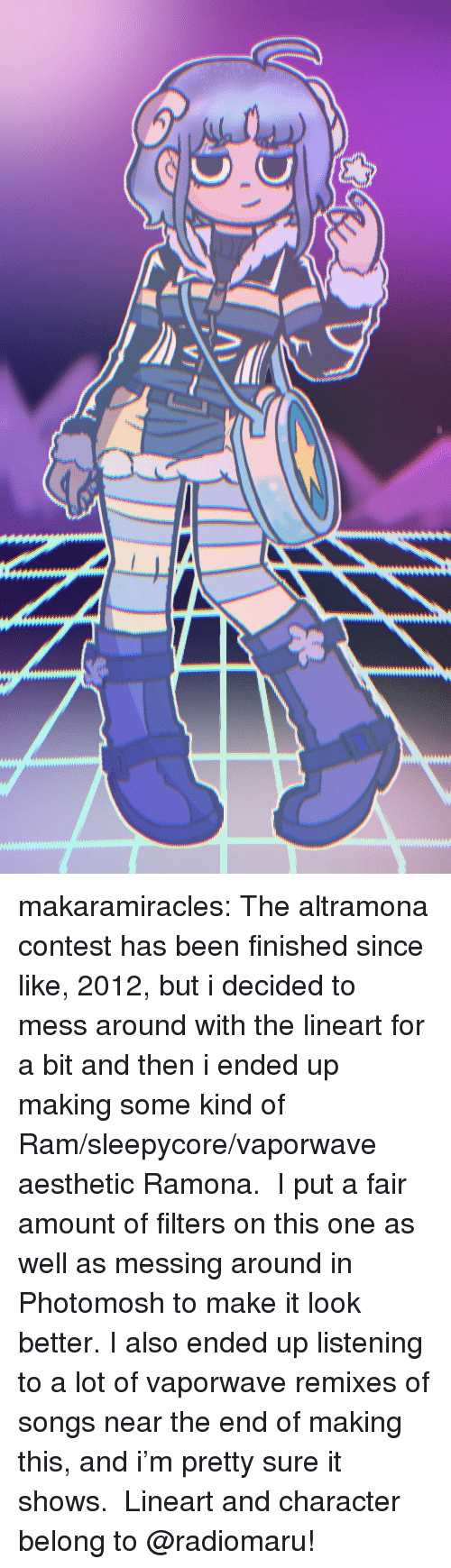 Remixes: makaramiracles: The altramona contest has been finished since like, 2012, but i decided to mess around with the lineart for a bit and then i ended up making some kind of Ram/sleepycore/vaporwave aesthetic Ramona.  I put a fair amount of filters on this one as well as messing around in Photomosh to make it look better. I also ended up listening to a lot of vaporwave remixes of songs near the end of making this, and i'm pretty sure it shows.  Lineart and character belong to @radiomaru!