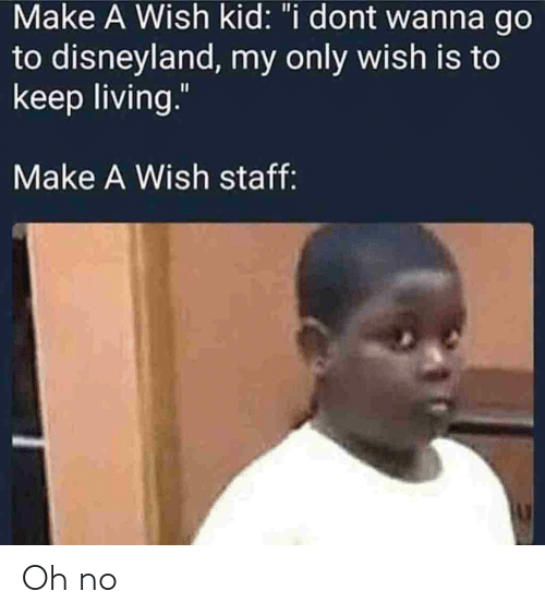 "Disneyland, Living, and Make A: Make A Wish kid: ""i dont wanna go  to disneyland, my only wish is to  keep living.""  Make A Wish staff: Oh no"