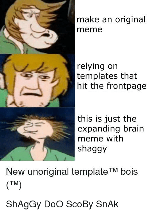 meme reddit and brain make an original meme relying orn templates that hit the frontpage this is just the expanding brain meme with shaggy new unoriginal