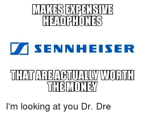 sennheiser: MAKES EXPENSIVE  HEADPHONES  Dr SENNHEISER  THAT AREACTUALLY WORTH  THE MONEY I'm looking at you Dr. Dre