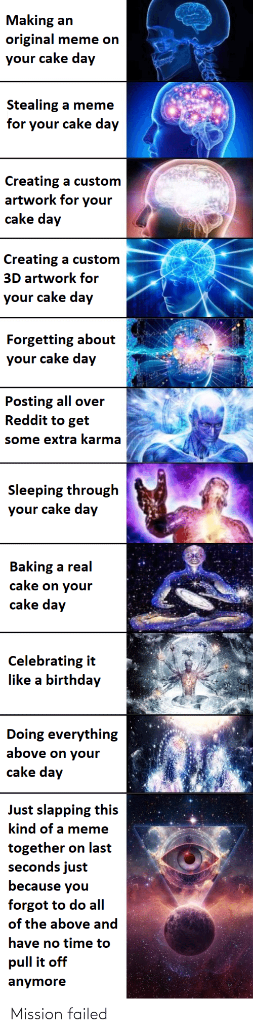 Birthday, Meme, and Reddit: Making an  original meme on  your cake day  Stealing a meme  for your cake day  Creating a custom  artwork for your  cake day  Creating a custom  3D artwork for  your cake day  Forgetting about  your cake day  Posting all over  Reddit to get  some extra karma  Sleeping through  your cake day  Baking a real  cake on your  cake day  Celebrating it  like a birthday  Doing everything  above on your  cake day  Just slapping this  kind of a meme  together on last  seconds just  because you  forgot to do all  of the above and  have no time to  pull it off  anymore Mission failed
