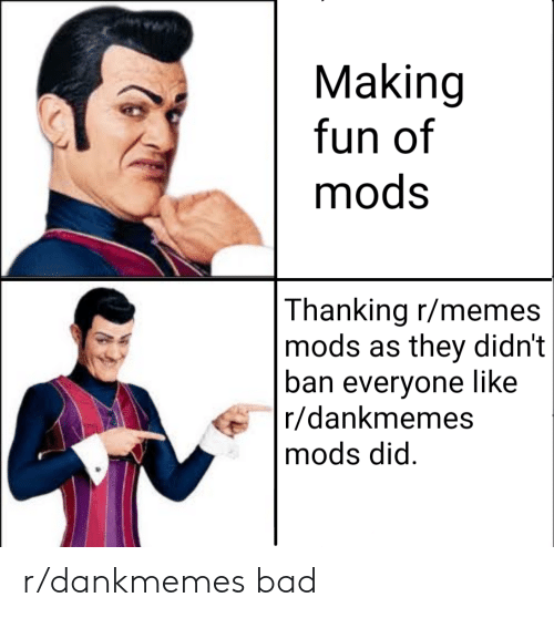 R Dankmemes: Making  fun of  mods  Thanking r/memes  mods as they didn't  ban everyone like  r/dankmemes  mods did r/dankmemes bad