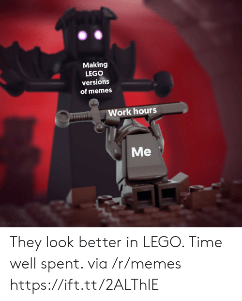 ork: Making  LEGO  versions  of memes  ork hours  Me They look better in LEGO. Time well spent. via /r/memes https://ift.tt/2ALThlE