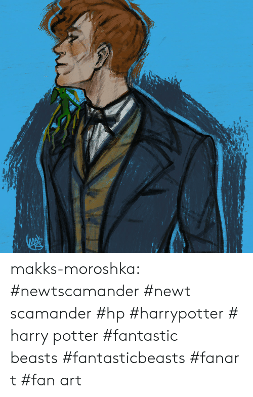 fan art: makks-moroshka:  #newtscamander #newt scamander #hp #harrypotter #harry potter #fantastic beasts #fantasticbeasts #fanart #fan art
