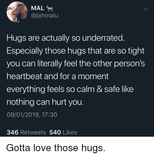 So Tight: MAL  @jahmalu  Hugs are actually so underrated.  Especially those hugs that are so tight  you can literally feel the other person's  heartbeat and for a moment  everything feels so calm & safe like  nothing can hurt you.  09/01/2019, 17:30  346 Retweets 540 Likes Gotta love those hugs.