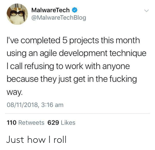 Andrew Bogut: MalwareTech  @MalwareTechBlog  I've completed 5 projects this month  using an agile development technique  I call refusing to work with anyone  because they just get in the fucking  way.  08/11/2018, 3:16 am  110 Retweets 629 Likes Just how I roll