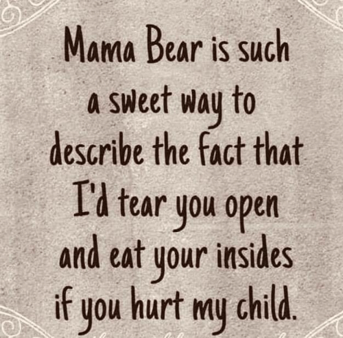 Hurt My: Mama Bear is such  a Sweet way to  describe the fact that  I'l tear you open  and eat your insides  if  hurt my child.