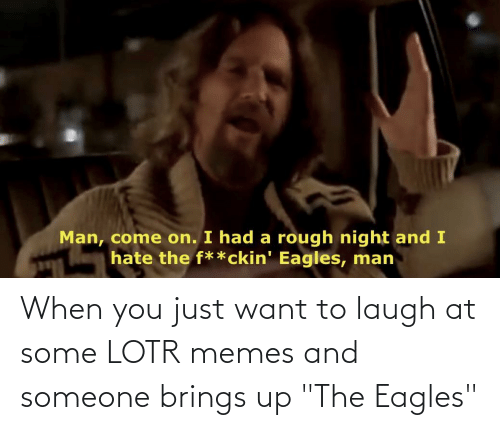 """Lotr Memes: Man, come on. I had a rough night and I  hate the f**ckin' Eagles, man When you just want to laugh at some LOTR memes and someone brings up """"The Eagles"""""""