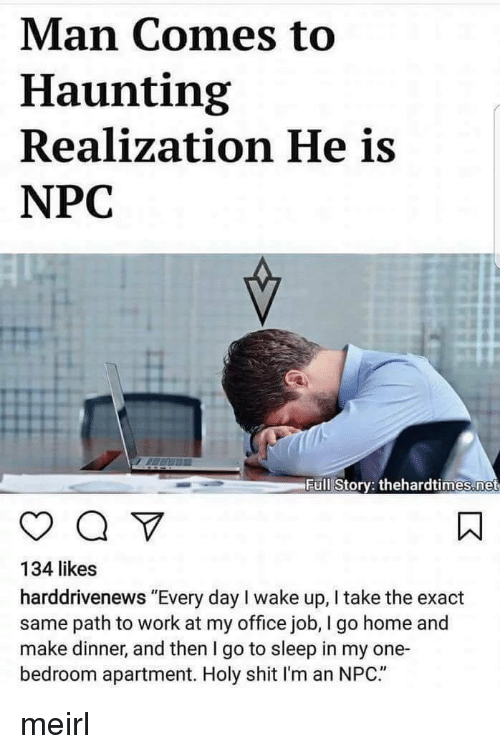 "Haunting: Man Comes to  Haunting  Realization He is  NPC  H.  Full Story: thehardtimes.net  134 likes  harddrivenews ""Every day I wake up, I take the exact  same path to work at my office job, I go home and  make dinner, and then I go to sleep in my one-  bedroom apartment. Holy shit I'm an NPC."" meirl"