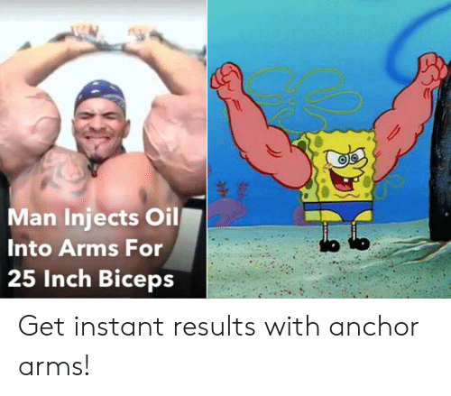 Instant: Man Injects Oil  Into Arms For  25 Inch Biceps Get instant results with anchor arms!