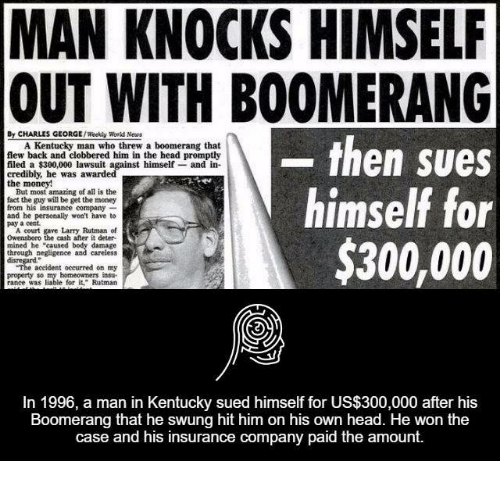 "Facts, Head, and Money: MAN KNOCKS HIMSELF  OUT WITH BOOMERANG  By CHARLES GEORGE  /Weekly World Neues  then sues  A Kentucky man who threw a boomerang that  flew back and clobbered him in the head promptly  filed a $300,000 lawsuit against himself and in-  credibly, he was awarded  the money!  himself for  But most amazing of all is the  fact the guy will be get the money  from his insurance company  and he personally won't have to  pay a cent.  A court gave Larry Rutman of  Owensboro the cash after it deter  $300,000  mined he ""caused  damage  through negligence and careless  accident occurred on my  property so my homeowners insu.  In 1996, a man in Kentucky sued himself for US$300,000 after his  Boomerang that he swung hit him on his own head. He won the  case and his insurance company paid the amount."