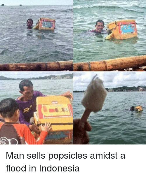 Indonesia, Man, and  Popsicles: Man sells popsicles amidst a flood in Indonesia