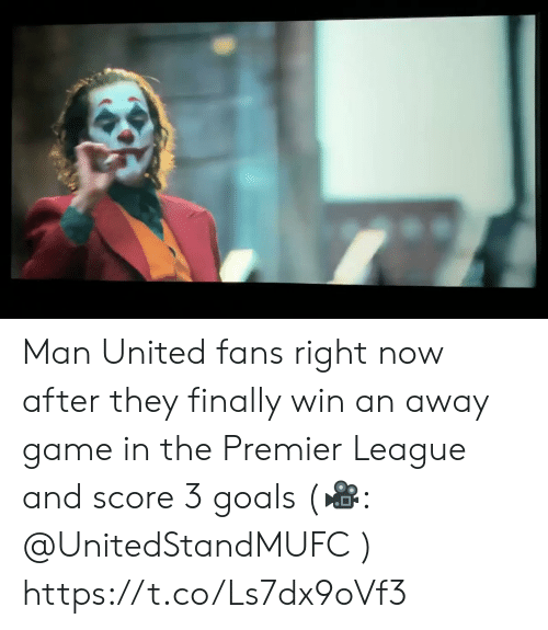 Premier League: Man United fans right now after they finally win an away game in the Premier League and score 3 goals (🎥: @UnitedStandMUFC )  https://t.co/Ls7dx9oVf3