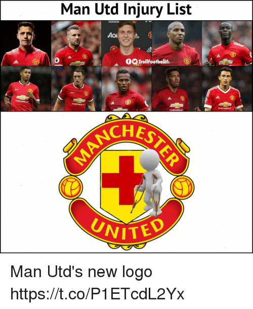 Memes, 🤖, and Man Utd: Man Utd Injury List  aaiaaS  ad  GTrollFootballts  CHES  NITED Man Utd's new logo https://t.co/P1ETcdL2Yx