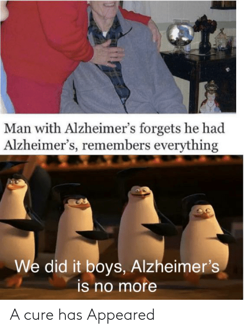 cure: Man with Alzheimer's forgets he had  Alzheimer's, remembers everything  We did it boys, Alzheimer's  is no more A cure has Appeared